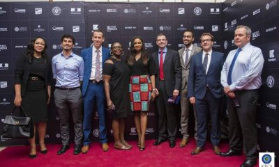 Colette Osibo - (On the extreme left), Ojoma Ochai (British Council Head of Arts, West Africa​) - 4th from the left, Chioma Ude (Founder, Africa International Film Festival) - Middle, Laurent Polonceaux, Aurelie Sennacherib, Yoanne Talhourarne