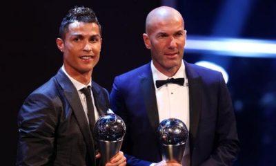 Real Madrid forward Cristiano Ronaldo and boss Zinedine Zidane with their awards.