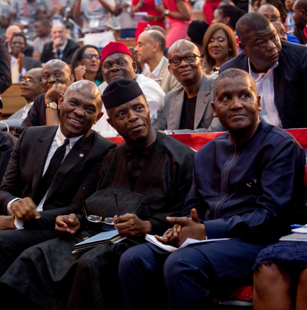 Tony. O. Elumelu with Prof Yemi Osibanjo and Aliko Dangote