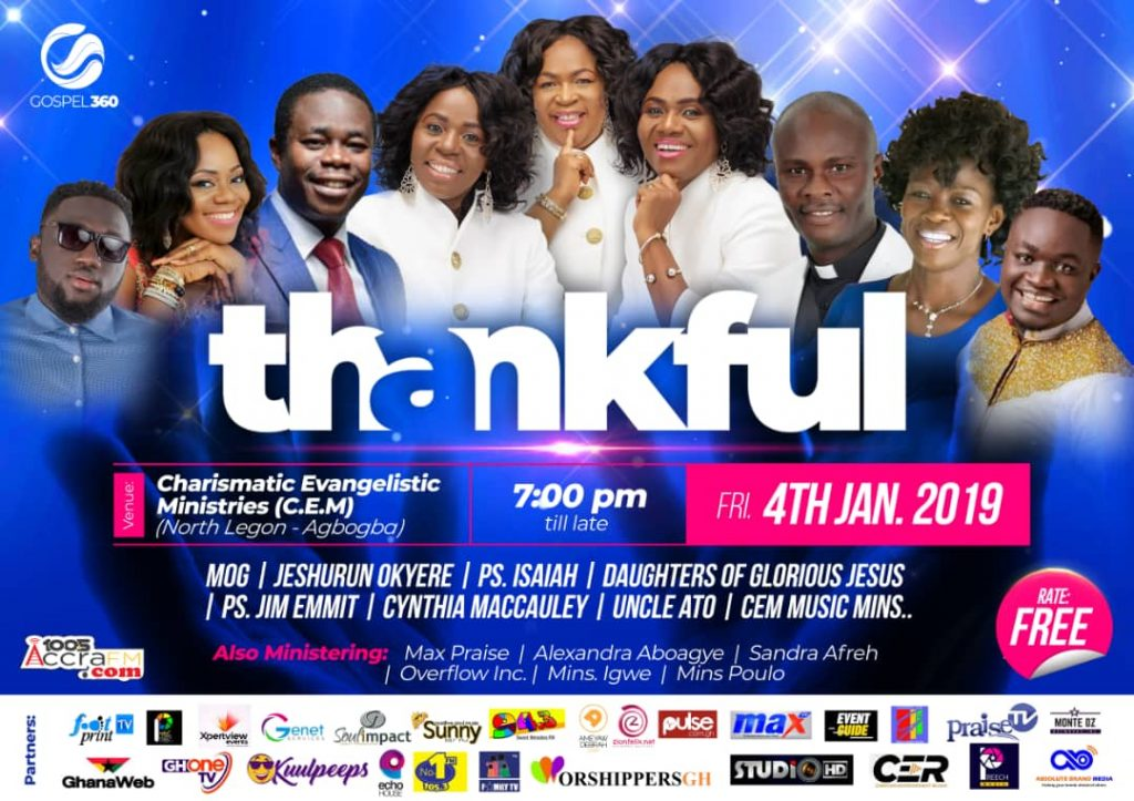 Daughters Of Glorious, Uncle Ato, Pastor Isaiah and more headline 'Thankful 2019', January 4