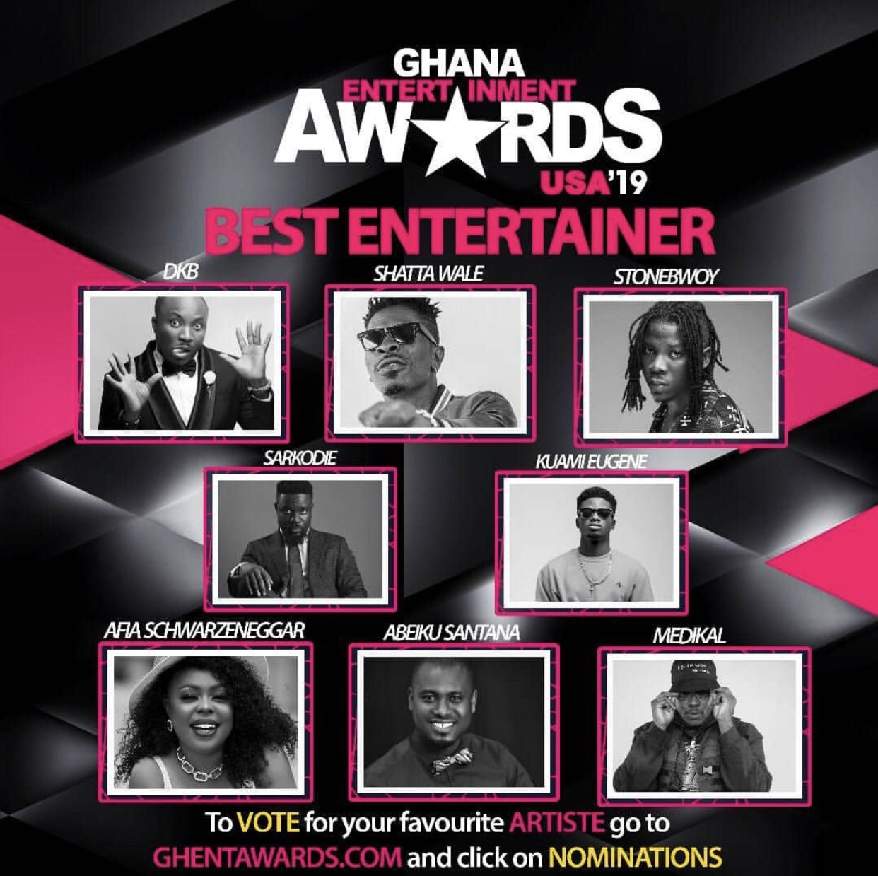 nominees for 2019 Ghana Entertainment Awards USA